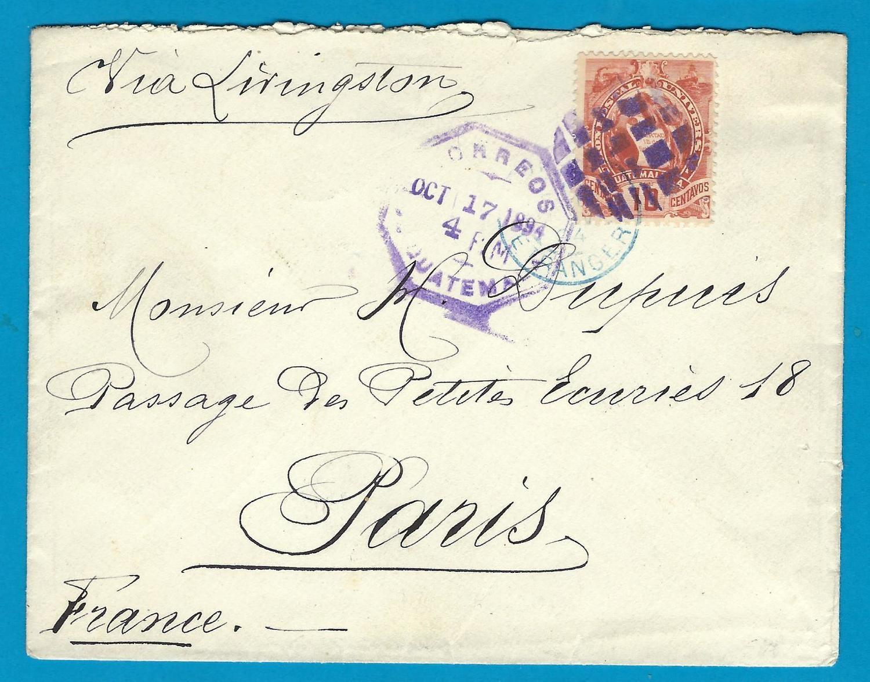 GUATEMALA cover 1894 Guatemala to France