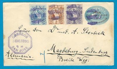 GUATEMALA envelope 1895 San Jose to Germany