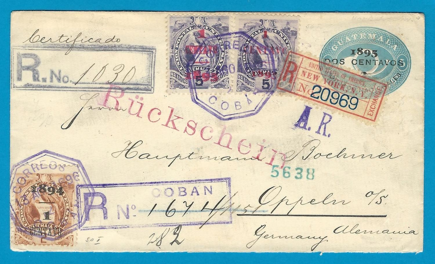 GUATEMALA AR envelope 1896 San Jose to Germany