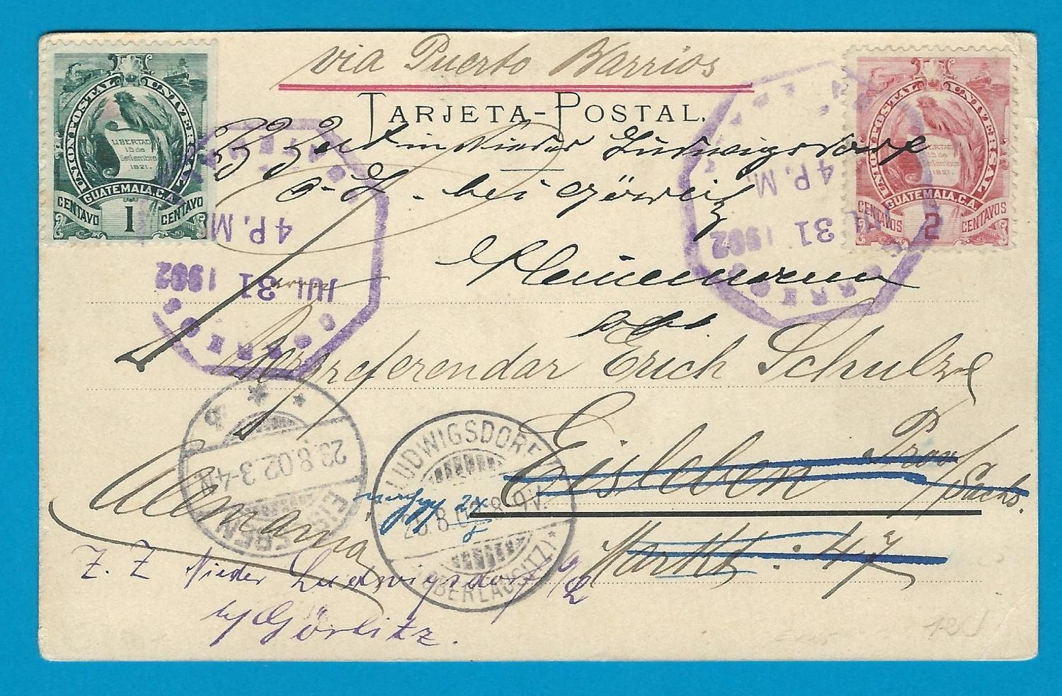 GUATEMALA PPC 1902 Guatemala to Germany