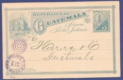 GUATEMALA postal card 1891 with train cancel