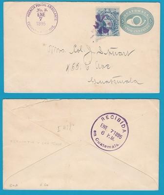 GUATEMALA envelope with traincancel 1895 Escuintla - Sn José