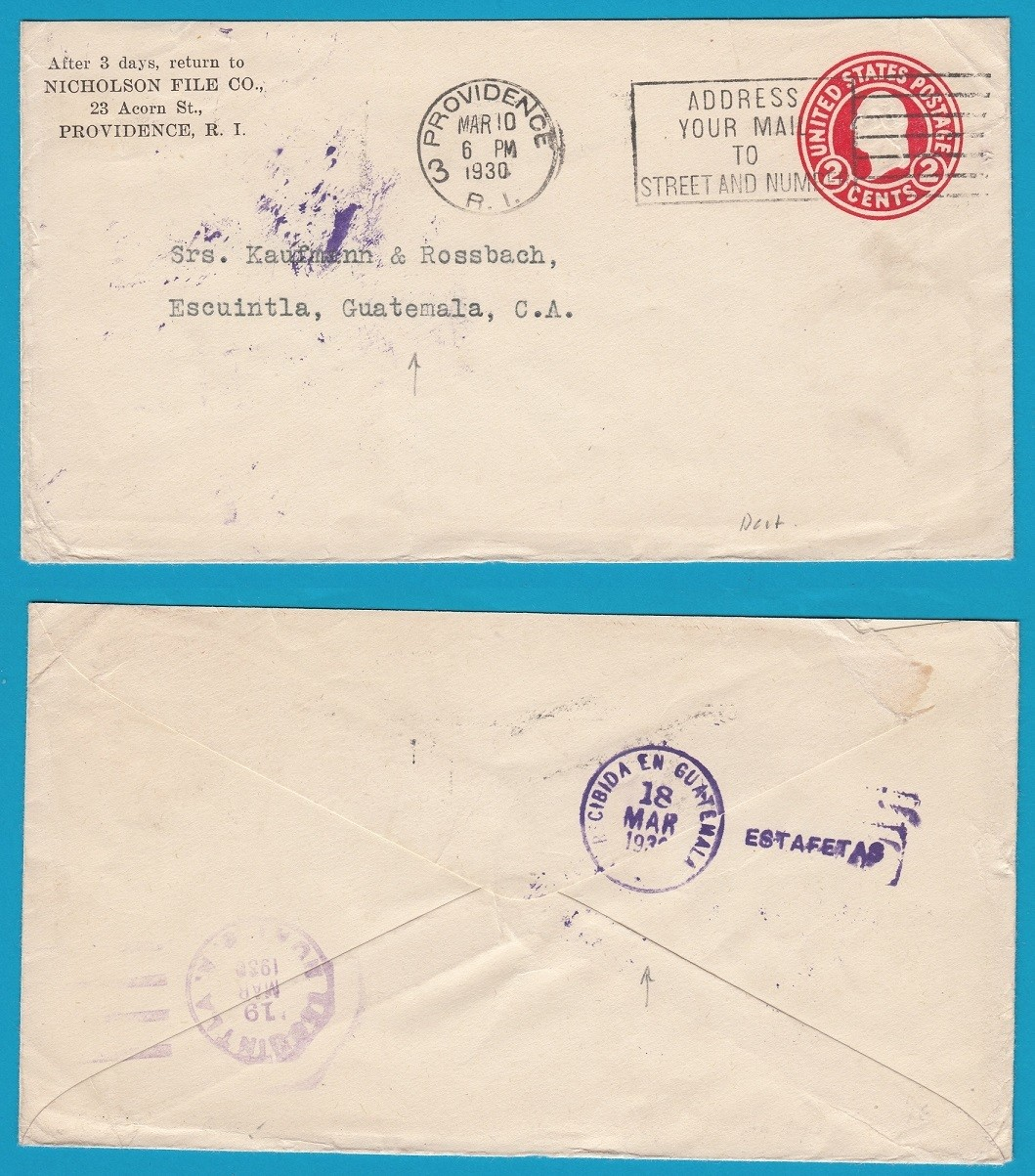 USA cover 1930 Providence to Guatemala with ESTAFETA receiver