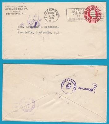 USA cover 1930 Providence to Guatemala with ESTAFETA receiver