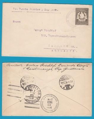 GUATEMALA envelope 1923 Suchitepeque to Germany