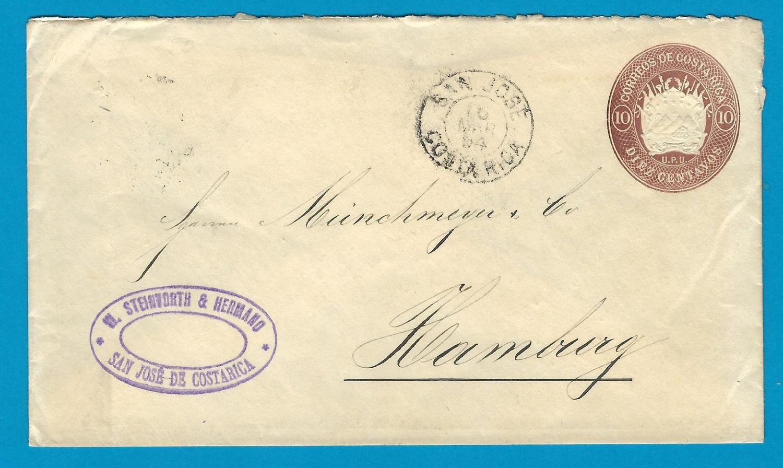 COSTA RICA envelope 1894 San José to Germany