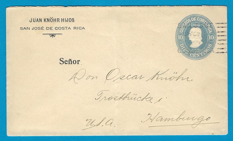 COSTA RICA envelope 1911 San José