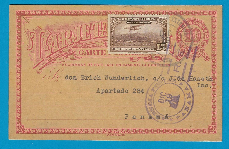 COSTA RICA postal card 1939 San José to Panama