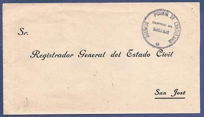 COSTA RICA official envelope Policia de Candelaria