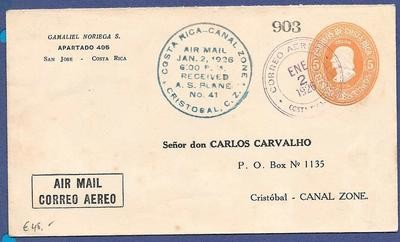 COSTA RICA airmail cover 1926 to Canal Zone