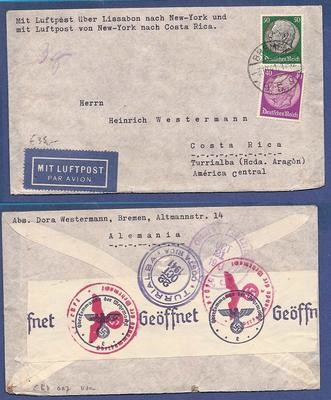 GERMANY airmail censored cover 1941 to Costa Rica