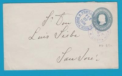COSTA RICA envelope 1906 Puntas Arenas to San José