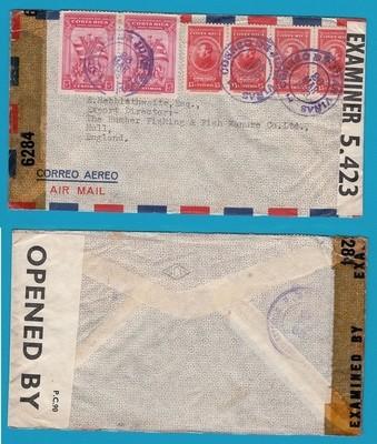 COSTA RICA censored airmail cover 1943 Juan Viñas to England