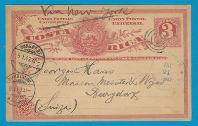 COSTA RICA postal card 1903 San José to Switzerland