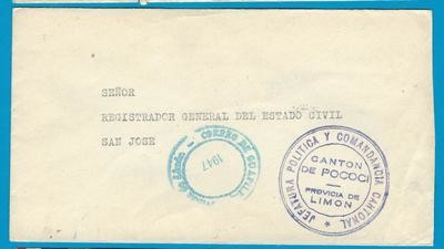 COSTA RICA official cover 1947 canton de Pococi