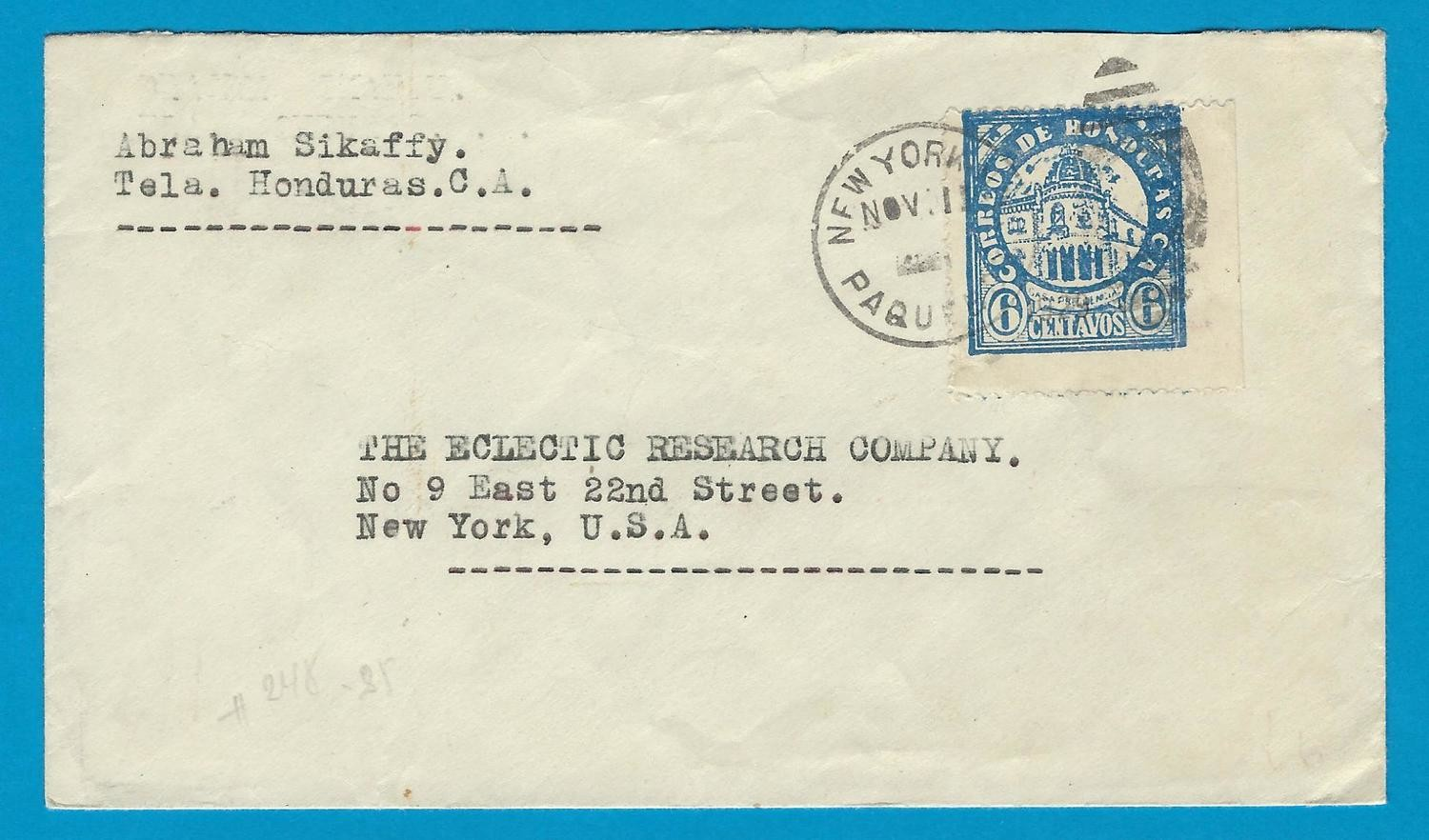 HONDURAS paquebot cover 1929 with New York cancel