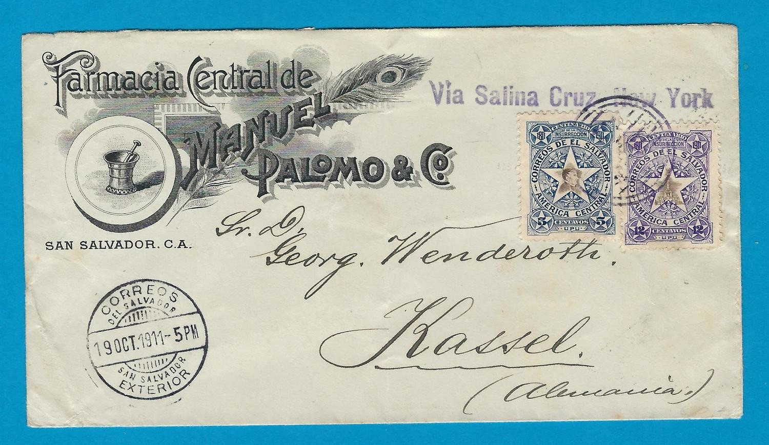 EL SALVADOR cover1911 San Salvador to Germany