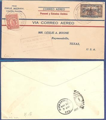 PANAMA airmail cover 1929 Panama - Cuba to USA