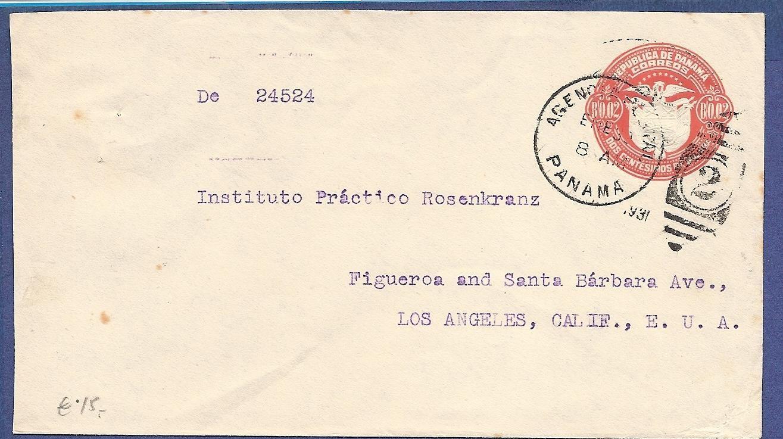 PANAMA envelope 1931 Panama to USA