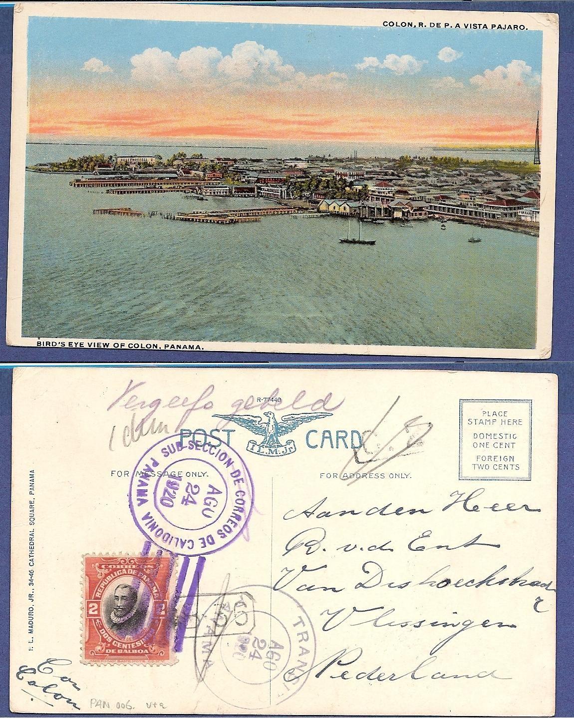PANAMA PPC 1920 Calidonio with Panama transit to Netherlands