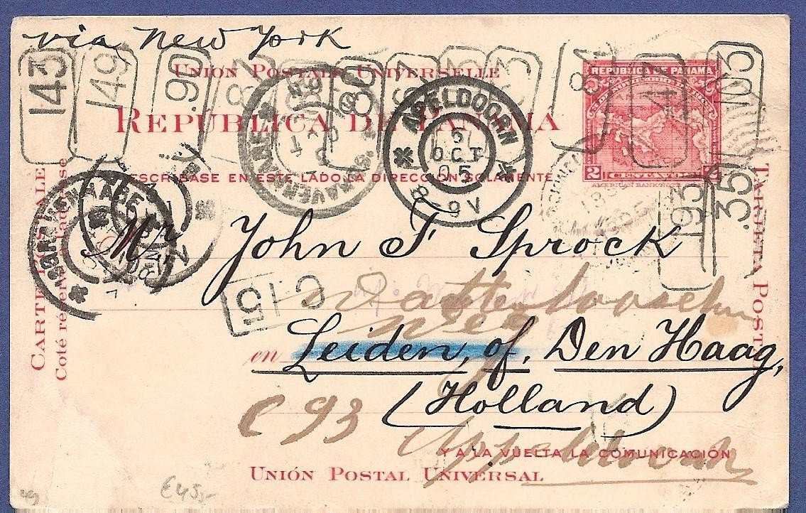 PANAMA postal card 1905 to Netherlands forwarded
