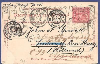 PANAMA postal card 1905 to Netherlands forwarded