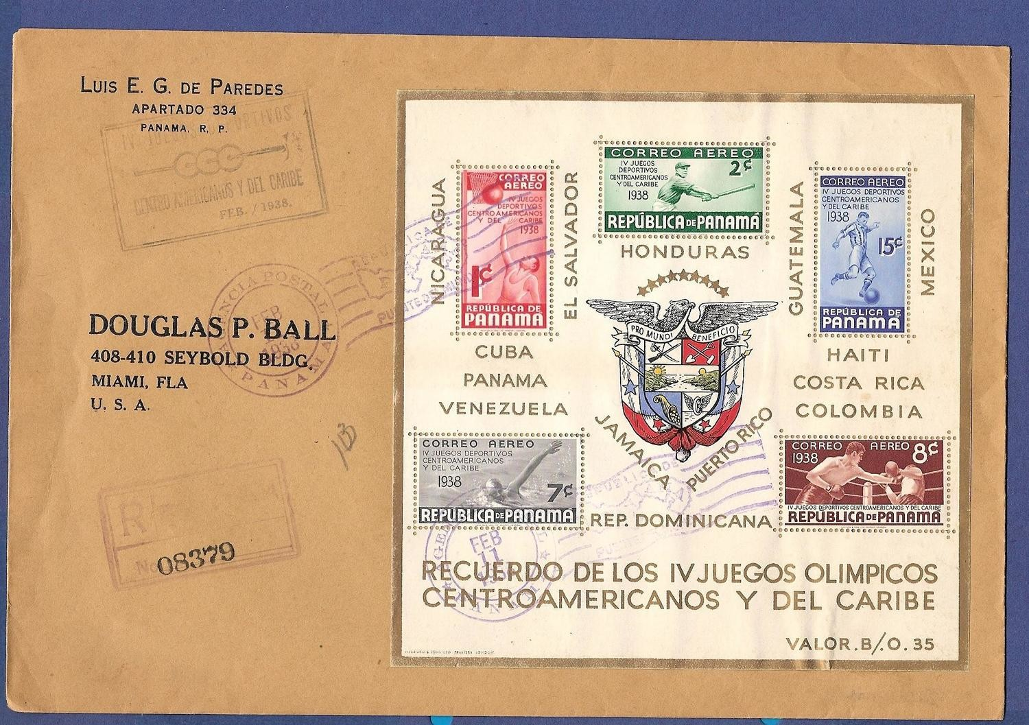 PANAMA R FDC 1938 Centro American Olympic games