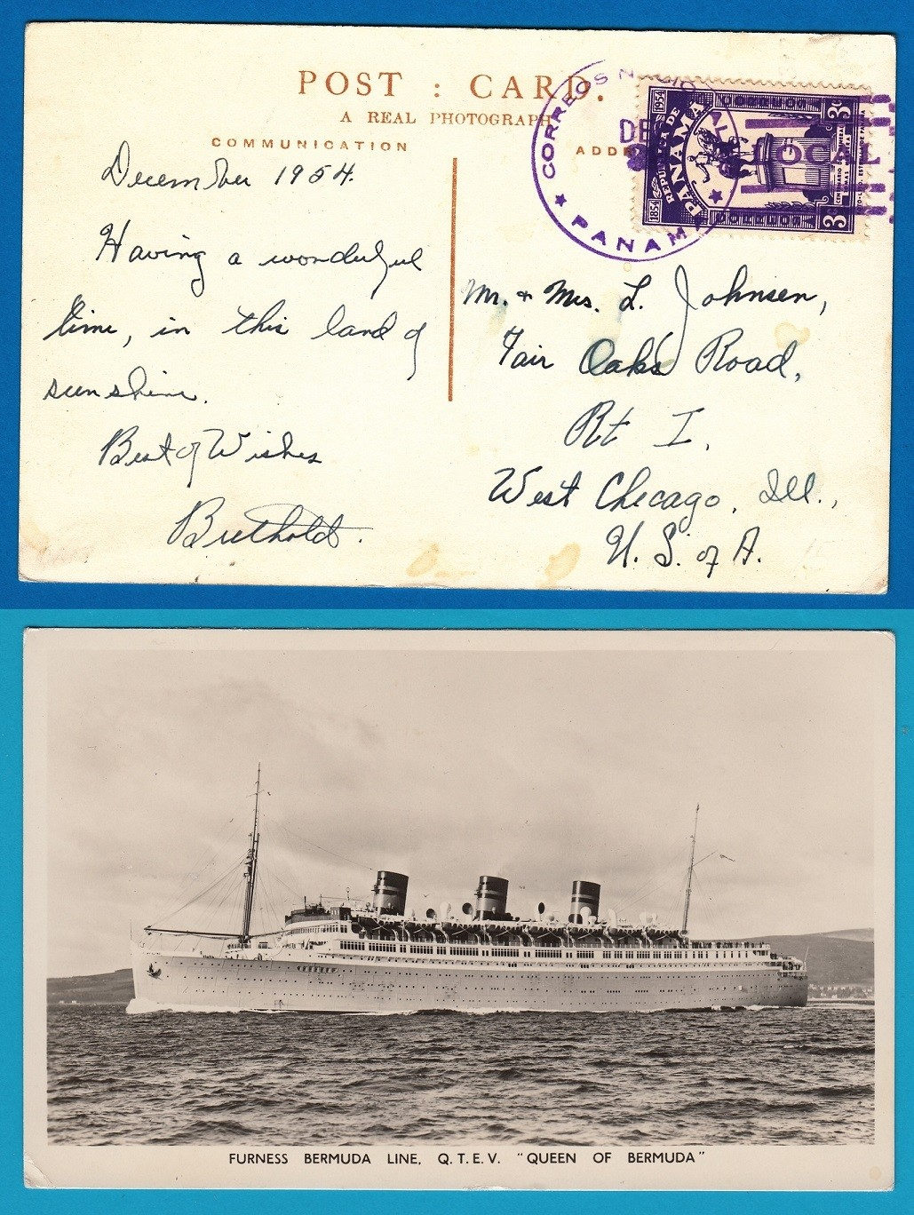 "PANAMA PPC 1954 ""Queen of Bermuda"" to USA"