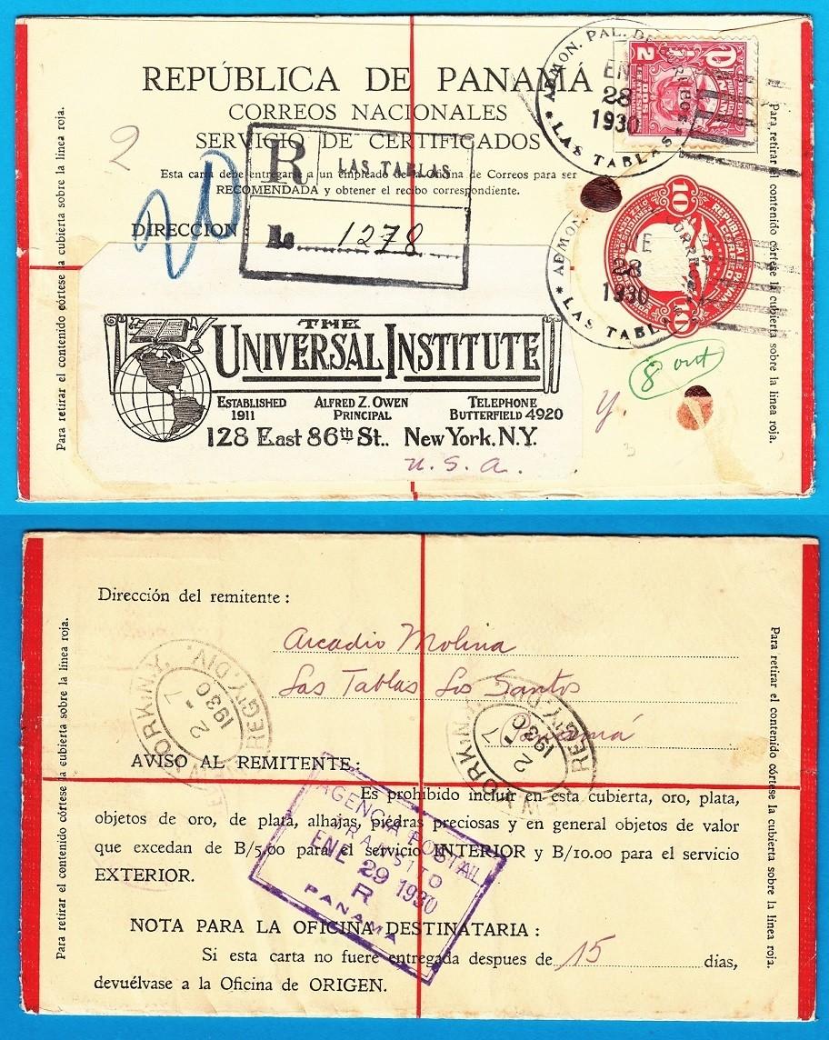 PANAMA R envelope 1930 Las Tablas to New York