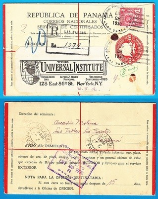 PANAMA R envelope 1930 Las Tablas to New York