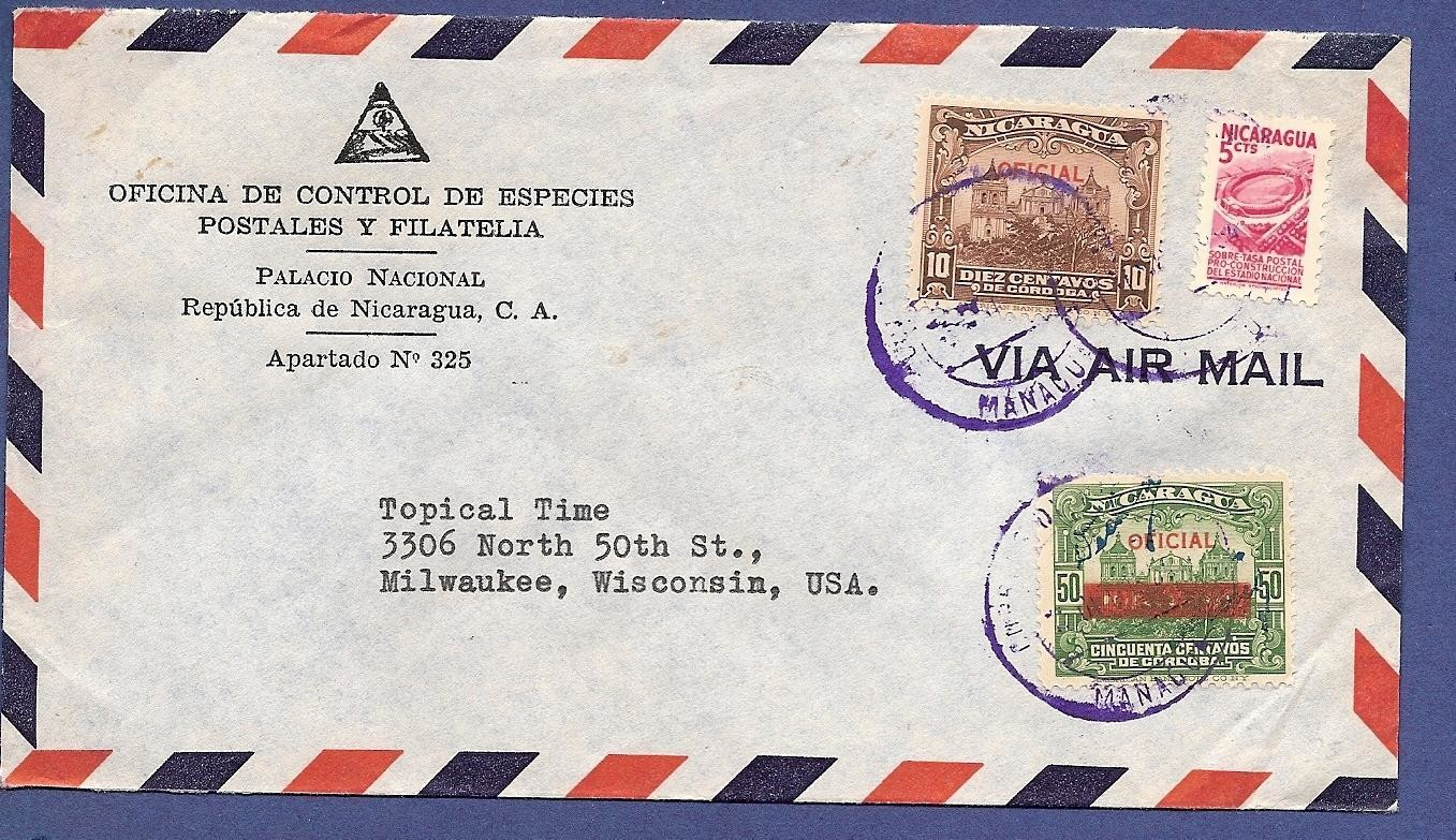 NICARAGUA official cover 1954 Managua to USA