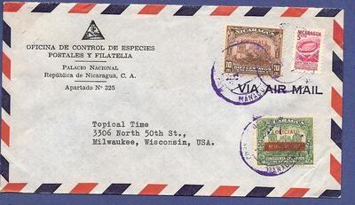 NICARAGUA official cover 1954 Managua to USA