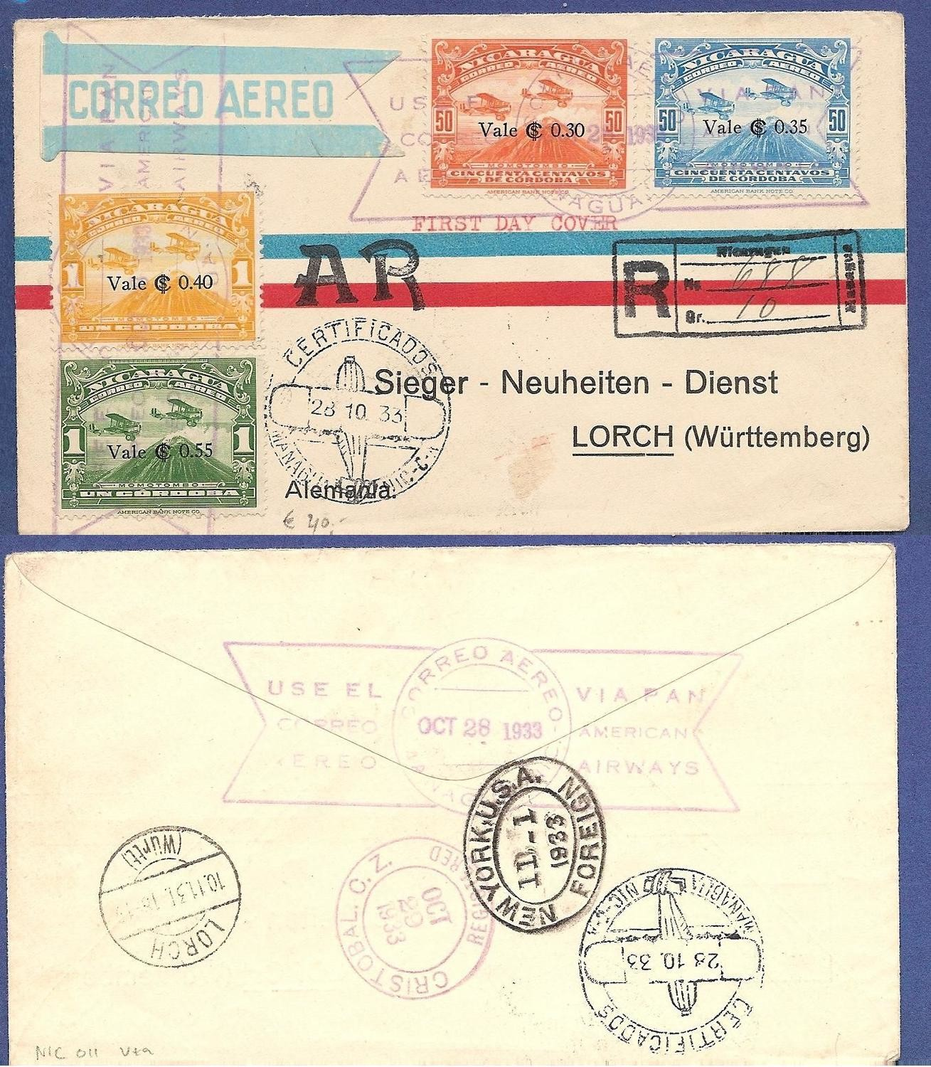NICARAGUA R FDC airmail cover 1933 Managua to Germany