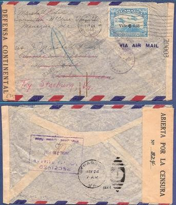 NICARAGUA censored air cover 1944 Managua to US Embassy in Costa Rica