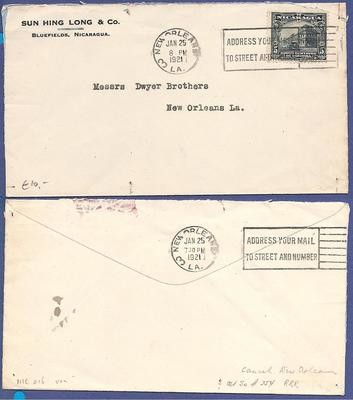 NICARAGUA cover 1921 Bluefields with New Orleans paquebot