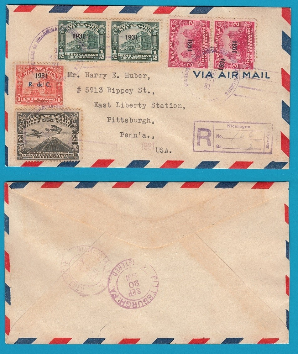 NICARAGUA R air cover 1931 Managua with double overprint 1931