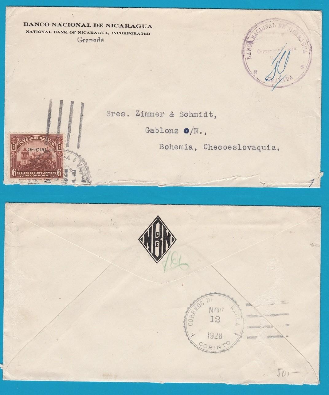 NICARAGUA official cover 1928 Granada to Chechoslovakia