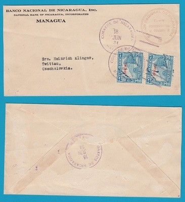 NICARAGUA official cover 1934 Managua to Czechoslovakia
