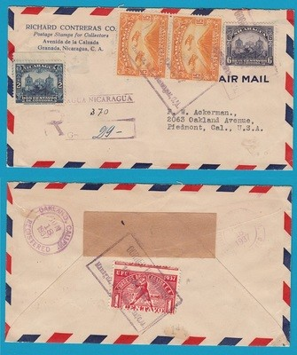 NICARAGUA R air cover 1937 Managua to USA