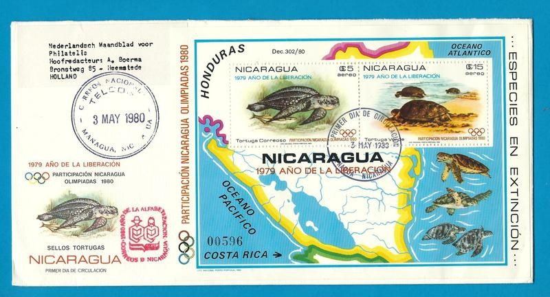 NICARAGUA R cover 1980 with turtle sheetlet Olympic overprint