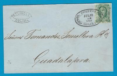 MEXICO cover 1857 Colima to Guadalajara