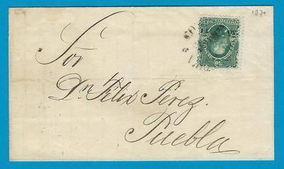 MEXICO cover 1874 Veracruz to Puebla