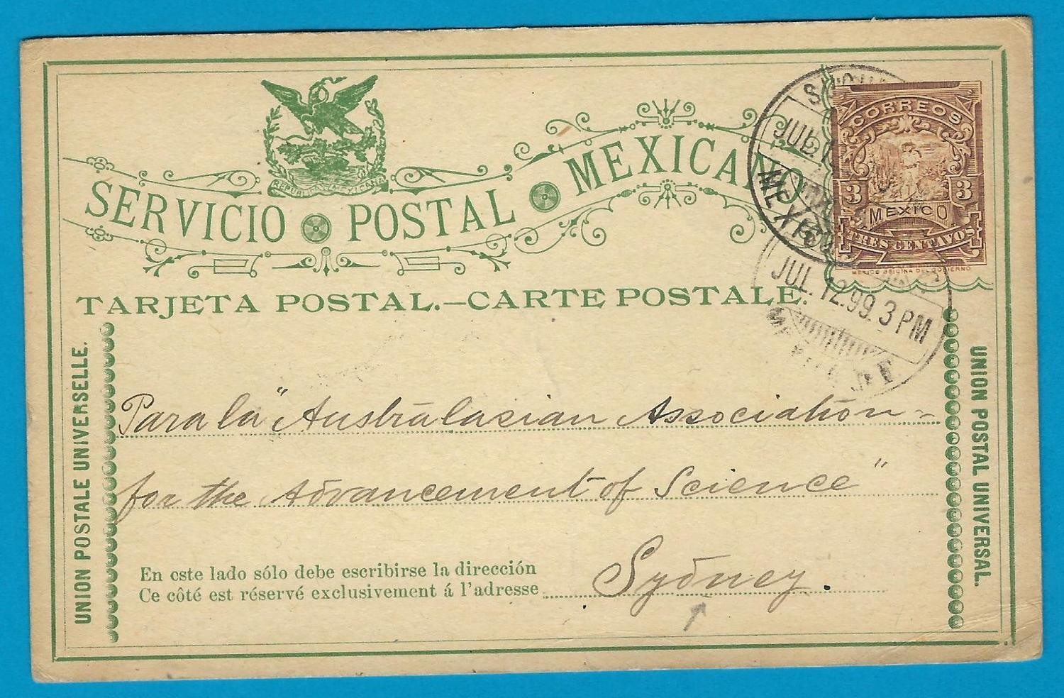 MEXICO postal card 1899 Mexico DF to Australia over Vancouver