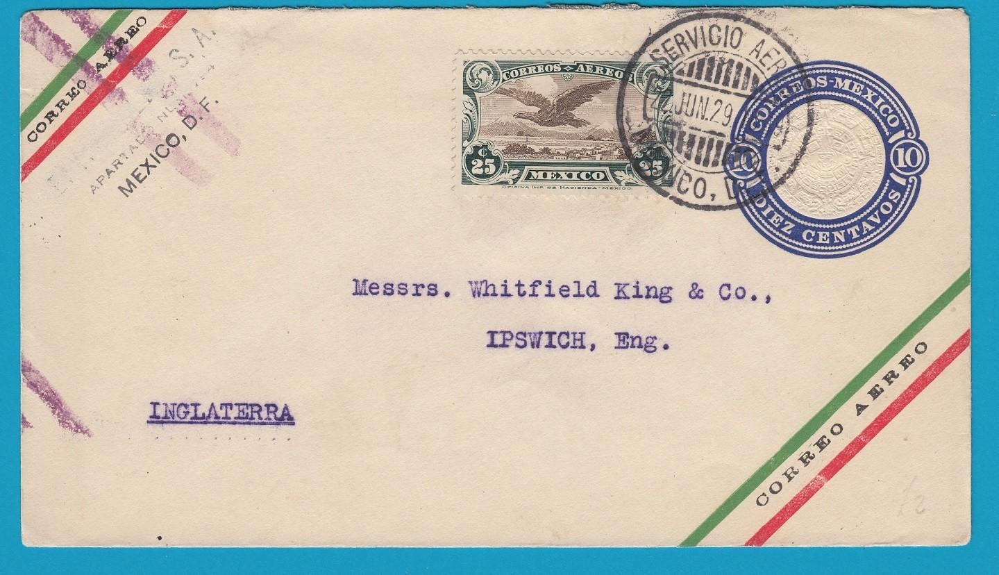 MEXICO uprated envelope 1929 Mexico DF to England