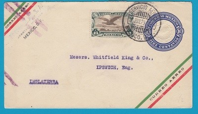MEXICO uprated envelope 1929 Mexico DF to England