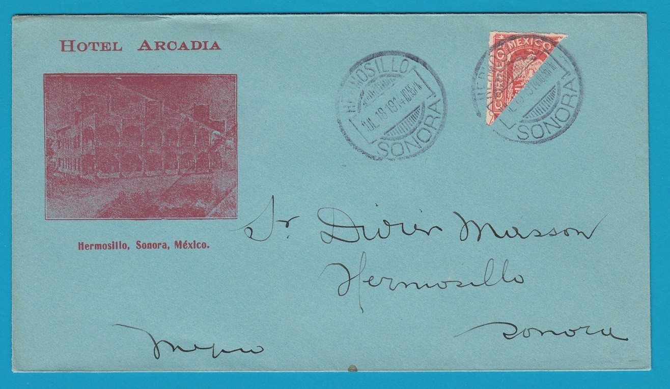 MEXICO cover 1914 Hermosillo with bisect