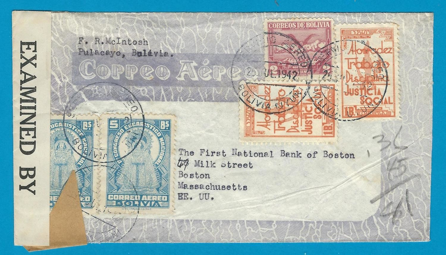 BOLIVIA censor air cover 1942 Uyuni to USA