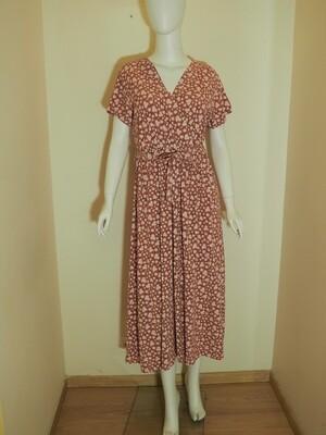 Φόρεμα μακρύ viscose ροδί