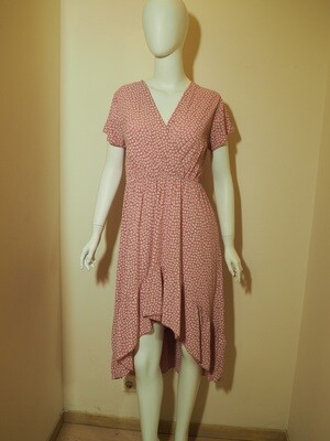 Φόρεμα ασύμμετρο viscose ροδί