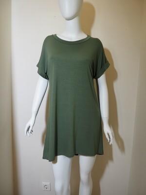 Φόρεμα κοντό με ζώνη χακί